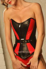 red and black leather overbust corset img3