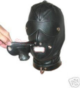 Bdsm  leather bondage hood