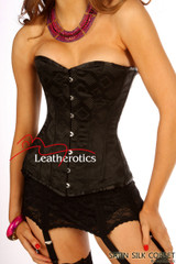 Unique Black Silk Steel Boned Corset Basque