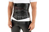 Men's Leather Buckled Under Bust Corset - front view