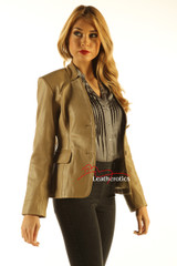 Ladies Tan Leather Blazer Jacket Classic Stylish Coat front view