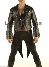 Leather Tailcoat Gothic Steampunk Morning Dress Suit Coat STPGL