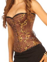 Brown Brocade Cherry Blossom Silk Corset Overbust