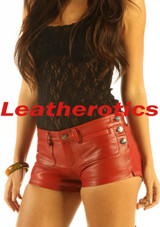 dark red leather shorts