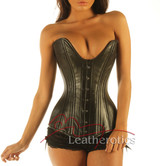 Full Grain Leather Double Steel Boned Plunge Corset Basque Corsage front view