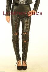 fetish leather lace leggings
