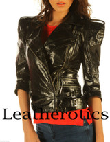 Ladies Leather Jacket Waist Length Top  Detailed Zipper JC57 image 1