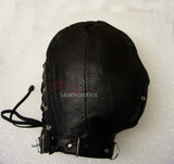 Black leather hood perforated gimp mask with laces on back pic 1