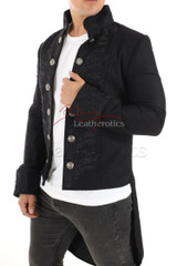 Mens Jacket with Embroidery Black STP7 1