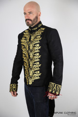 Vintage Embroidered Tailcoat Black Cotton Mens