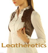 Ruffled Antique Brown Real Leather Waistcoat Vest Steampunk Bolero