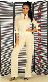 White nude linen cotton Jumpsuit pic 3