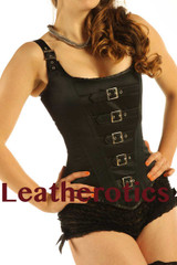 Black satin Corset Overbust Buckled Dragoncon