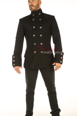 Men's Steampunk Military jacket Top Mandarin Collar