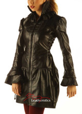 Black Leather Burlesque Victorian Theme Jacket MD644