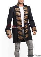 Black Cotton Steampunk Vintage Dress Coat Pirate Military Top