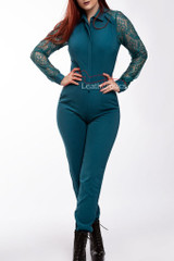 Women's Jumpsuit All in One Dress with Mesh Arms Alle Blue front