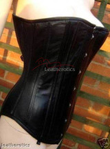 Black Leather Corset Top Steel Boned Over Bust 1801PLT