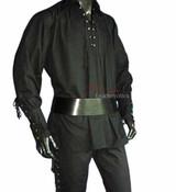 Mens Kilt Shirt Medieval Pirate LARP Lacing Long Sleeves Costume Black Cotton