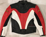 New Full Grain Leather Mens Biker Suit Jacket Red/Black/White
