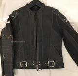 New Full Grain Leather Mens Biker Suit Jacket Black with White Stitching