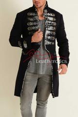 Men's Tailcoat Jacket Black Cotton MTC5 Front