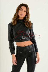 Ladies Luxurious Fine Leather Crop Top 7