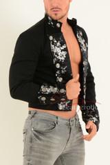 Men's steampunk jacket mens floral cuffs