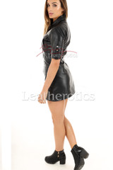 Leather Mini Dress With Pockets - side