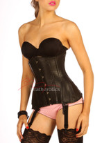 Longline Black Leather Under Bust Steel Boned Hipster Corset Front View