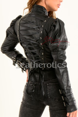Ladies Black Leather Gothic Jacket 1