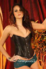Full Grain Leather Corset Semi Overbust Back Lacing 1802