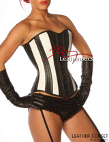 Full Grain Leather Corset Victorian Style Overbust Fitting 1252B