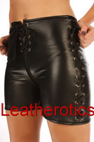 Leather Laced Front Zipped Tight Shorts in black colour