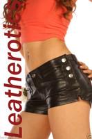 Black leather tight shorts