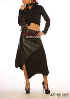 Gorgeous Real Leather Skirt With Wool Panels  image 2