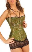 olive green silk corset