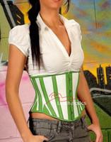 1214 Green White Full Grain Leather Under Bust Corset