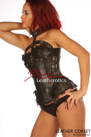 Halter Leather Corset Steel Boned Semi Overbust image 2