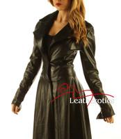 Ladies Black Leather Full Length Dress Coat Burlesque Alternative Clothing