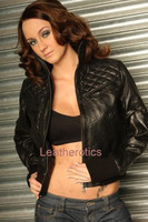 Ladies Leather Jacket with detailed stitch work image 1