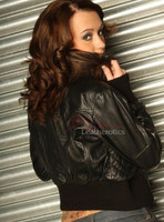 Ladies Leather Jacket with detailed stitch work image 2