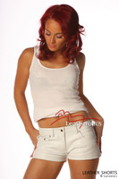Ladies Leather Sexy Tight White Jeans Style Shorts 1272W  image 2