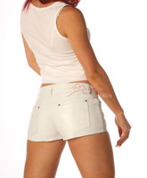 Ladies Leather Sexy Tight White Jeans Style Shorts 1272W  image 3