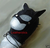 Real black leather cat mask