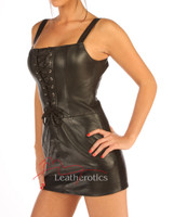 Leather Mini Dress erotic romance Belted laced Sexy Top front