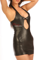 Leather Mini Dress Erotic Sexy Top side view