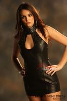 Leather Steel studded Mini Dress Top