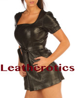 Leather Mini fetish Dress puffy hip length side