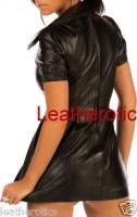 Leather Mini fetish Dress puffy hip length back